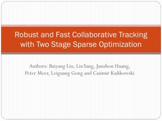 Robust and Fast Collaborative Tracking with Two Stage Sparse Optimization