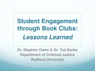 Student Engagement through Book Clubs: Lessons Learned