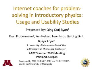 Internet coaches for problem-solving in introductory physics: Usage and Usability Studies