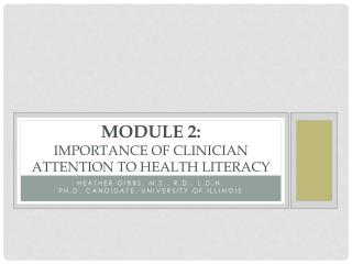 Module 2: Importance of Clinician Attention to Health Literacy