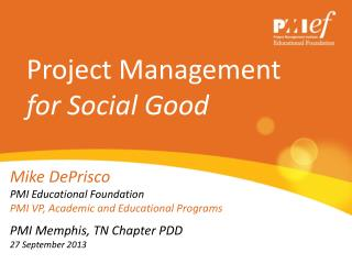 Project Management  for Social Good