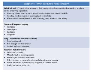 Chapter 8:  Mini-Inquiries Small Group Inquiry Model Adapted for Mini-Inquiry Projects
