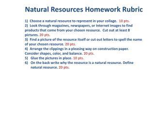 Natural Resources Homework Rubric