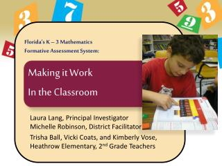 Florida�s K � 3 Mathematics  Formative Assessment System: