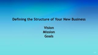 Defining the Structure of Your New Business Vision Mission Goals