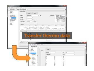 Transfer thermo data