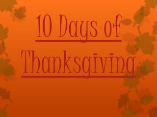 10 Days of  Thanksgiving