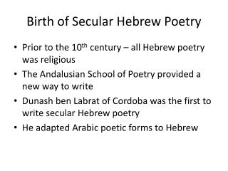 Birth of Secular Hebrew Poetry