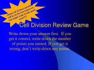 Cell Division Review Game