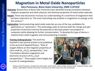 Magnetism in Metal Oxide Nanoparticles Alex Punnoose, Boise State University, DMR 1137419