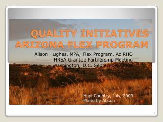 QUALITY INITIATIVES ARIZONA FLEX PROGRAM