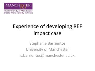 Experience of developing REF impact case