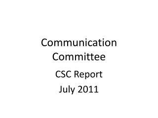 Communication Committee