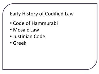 Early History of Codified Law Code of Hammurabi Mosaic Law Justinian Code Greek