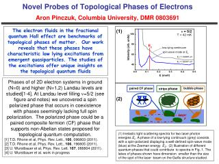 Novel Probes of Topological Phases of Electrons  Aron Pinczuk , Columbia University, DMR  0803691