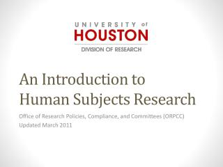 An Introduction to Human Subjects Research