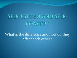 SELF-ESTEEM AND SELF-CONCEPT