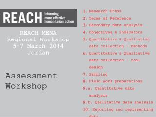 REACH MENA  Regional Workshop 5-7 March 2014 Jordan