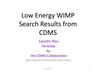 Low Energy WIMP Search Results from CDMS