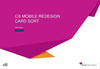 Citi MOBILE REDESIGN CARD SORT