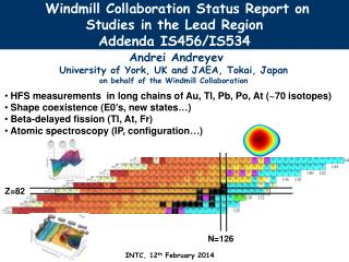 Windmill Collaboration Status  Report  on Studies  in the  Lead Region  Addenda IS456/IS534