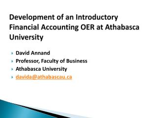 Development of an Introductory Financial Accounting OER at Athabasca University