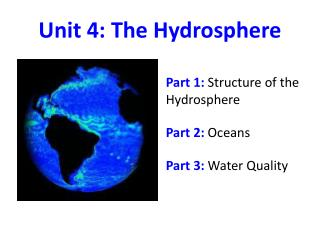 Unit  4:  The Hydrosphere