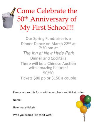 Come Celebrate the 50 th  Anniversary of My First School!!!