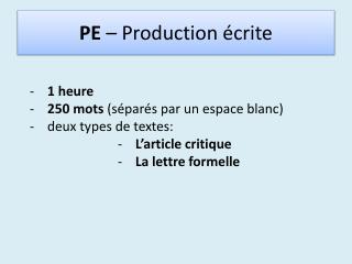 PE  –  Production écrite
