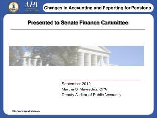 Presented to Senate Finance Committee