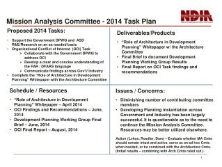 Mission Analysis Committee - 2014  Task  Plan