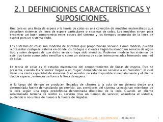 2.1 DEFINICIONES CARACTERÍSTICAS Y SUPOSICIONES.