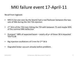 MKI failure event 17-April-11