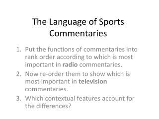 The Language of Sports Commentaries
