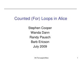 Counted For Loops in Alice