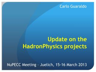 Update on the HadronPhysics projects