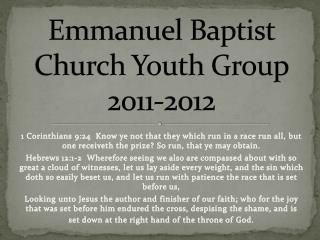 Emmanuel Baptist Church Youth Group 2011-2012