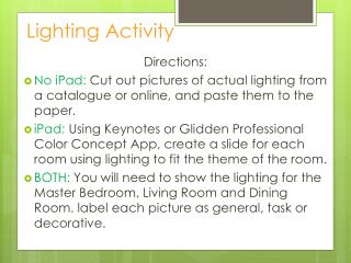 Lighting Activity