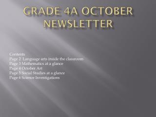 Grade 4A October Newsletter