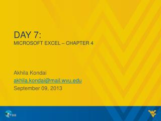 Day 7: MICROSOFT  EXCEL – CHAPTER 4