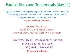 Parallel lines and Transversals (day 11)