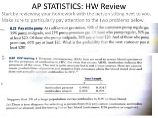 AP STATISTICS: HW Review