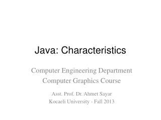 Java : Characteristics