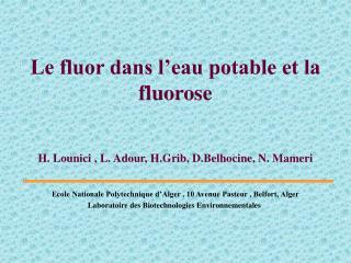 Le fluor dans l eau potable et la fluorose