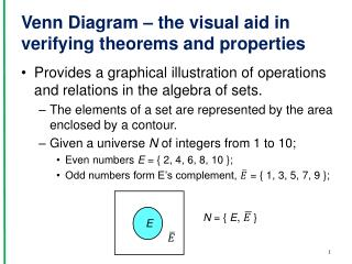 Venn Diagram � the visual aid in verifying theorems and properties