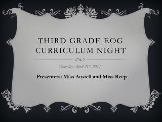 THIRD GRADE EOG CURRICULUM NIGHT
