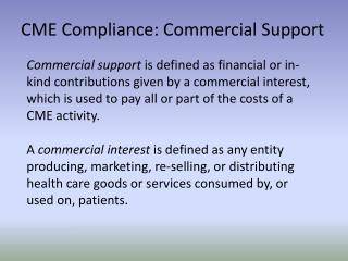 CME Compliance: Commercial Support