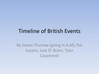 Timeline of British Events