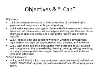 "Objectives & ""I Can"""