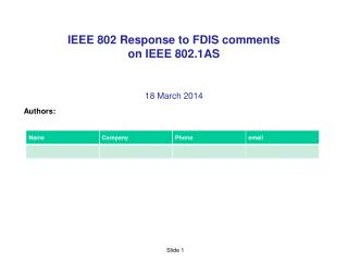 IEEE 802 Response to FDIS comments  on IEEE  802.1AS